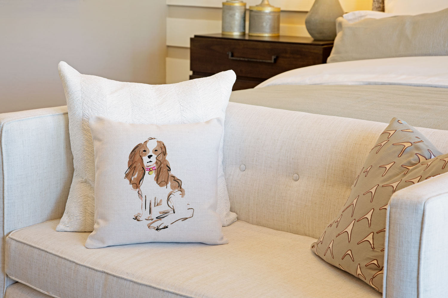 Sparky Spaniel Throw Pillow Cover - Dog Illustration Throw Pillow Cover Collection-Di Lewis