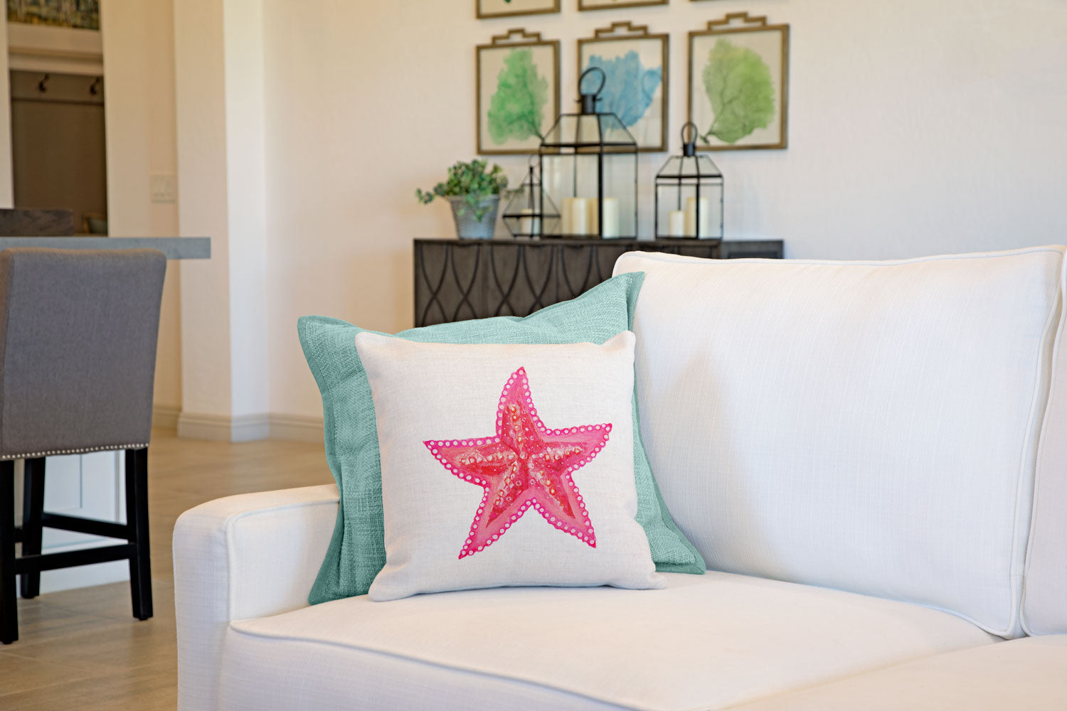 Starfish Throw Pillow Cover - Coastal Designs Throw Pillow Cover Collection-Di Lewis
