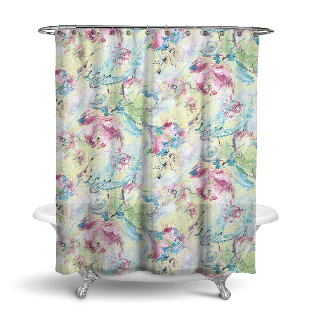 SUMMER BREEZE - FLORAL SHOWER CURTAIN - CANDY - FLOWER DESIGN - CONTEMPORARY
