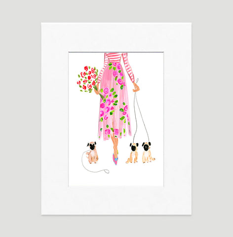 Summer Stroll Art Print - Fashion Illustration Wall Art Collection-Matted-Di Lewis