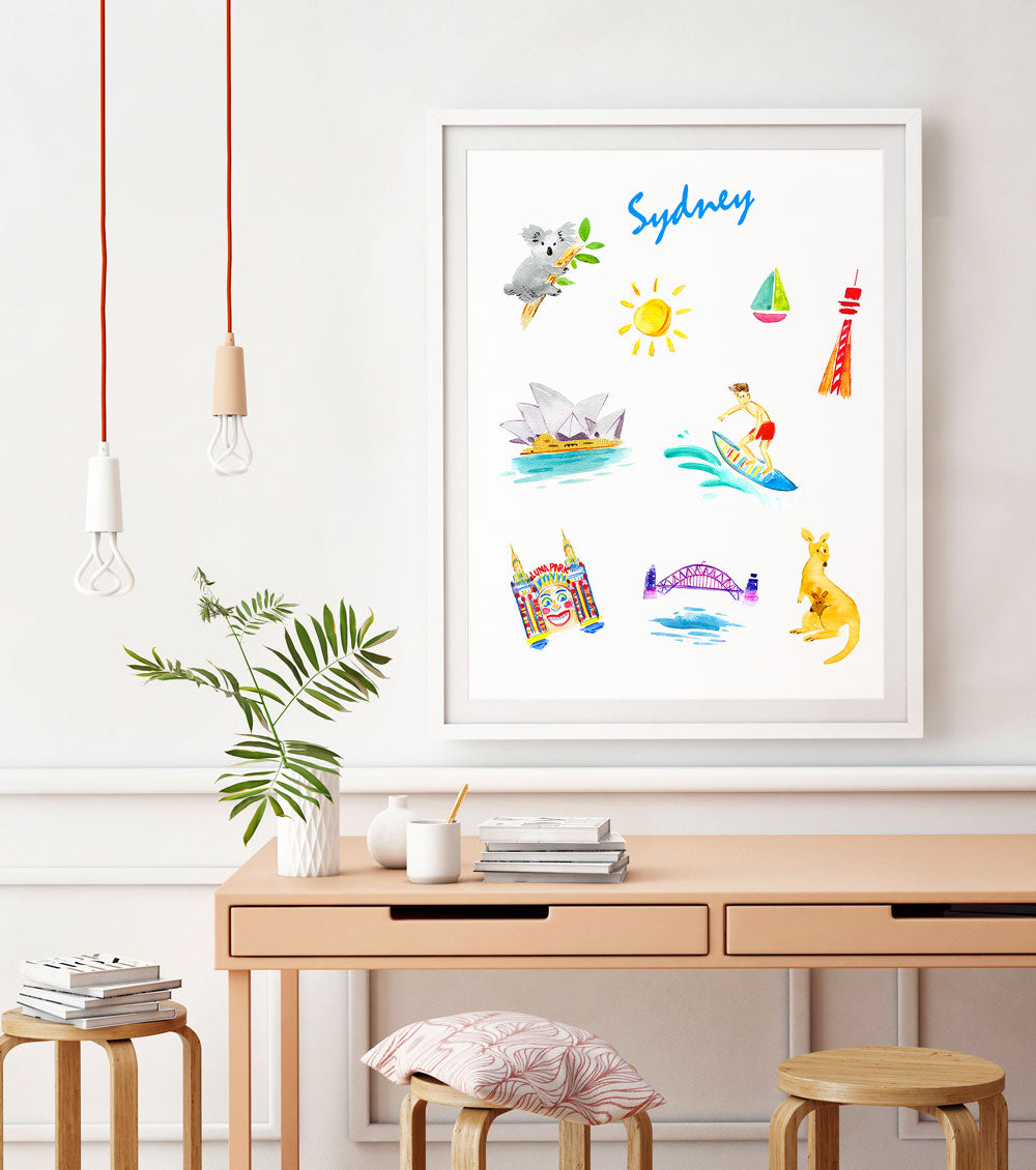 Sydney Art Print - Travel Print Wall Art Collection-Room Setting-Di Lewis