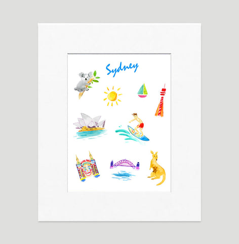 Sydney Art Print - Travel Print Wall Art Collection-Matted-Di Lewis