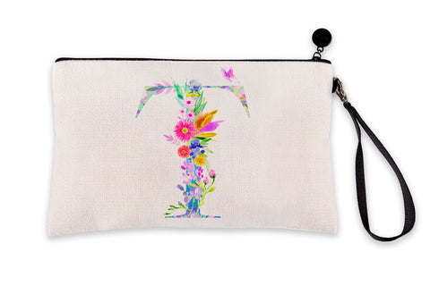 Floral Watercolor Monogram Letter T Makeup Bag