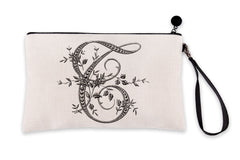 Vintage French Monogram Letter T Makeup Bag