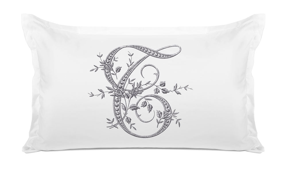 Vintage French Monogram Letter T Pillowcase