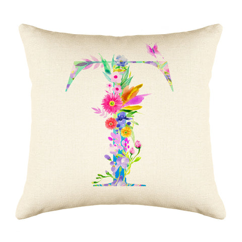 Floral Watercolor Monogram Letter T Throw Pillow Cover