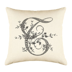 Vintage French Monogram Letter T Throw Pillow Cover
