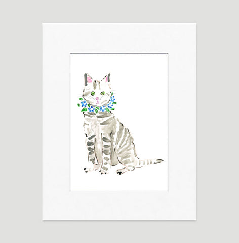 Tabby Cat Art Print - Cat Illustrations Wall Art Collection-Di Lewis