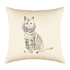 Tabby Cat Throw Pillow Cover - Cat Illustration Throw Pillow Cover Collection-Di Lewis