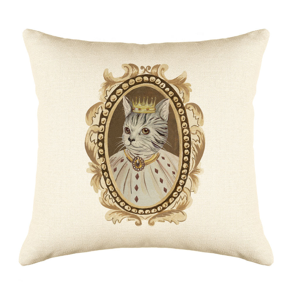 Tabby Cat Portrait Throw Pillow Cover - Cat Illustration Throw Pillow Cover Collection-Di Lewis