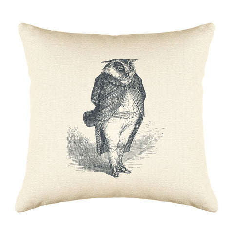 The Distinguished Owl Throw Pillow Cover - Animal Illustrations Throw Pillow Cover Collection-Di Lewis