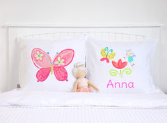 Colorful Flower Fairy Butterfly - Personalized Kids Pillowcase Collection