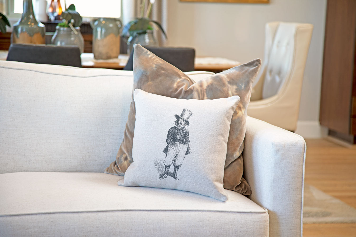 The General Throw Pillow Cover - Animal Illustrations Throw Pillow Cover Collection