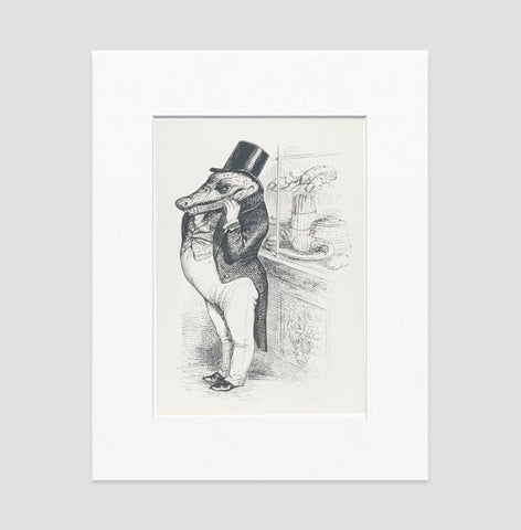The Greedy Crocodile Art Print - Animal Illustrations Wall Art Collection-Matted-Di Lewis