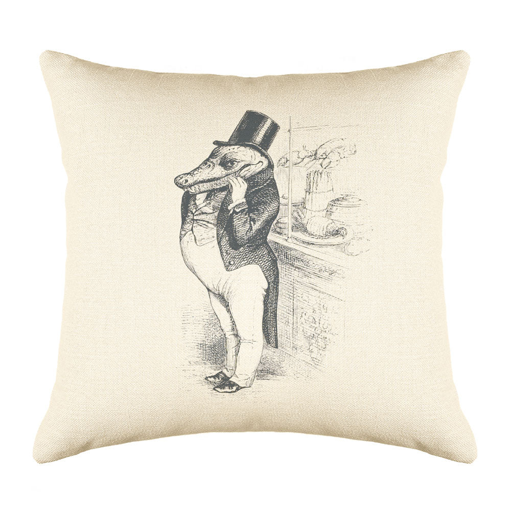 The Greedy Crocodile Throw Pillow Cover
