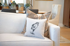 The Humble Starling Throw Pillow Cover - Animal Illustrations Throw Pillow Cover Collection