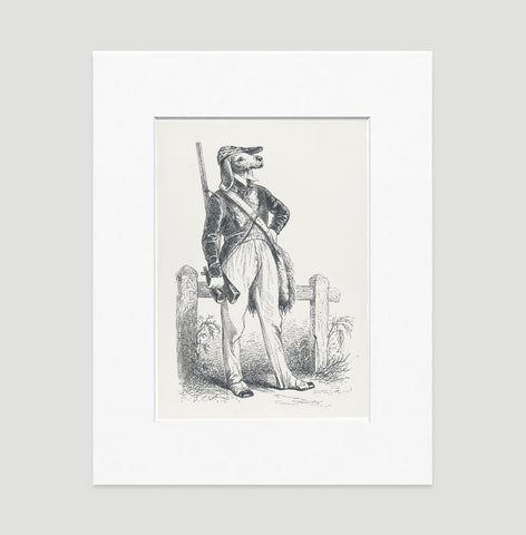 The Hunter Art Print - Animal Illustrations Wall Art Collection-Matted-Di Lewis