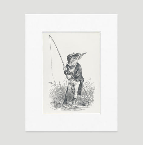 The King Fisher Art Print - Animal Illustrations Wall Art Collection-Matted-Di Lewis