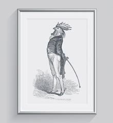 The Proud Cock Illustration Art Print Di Lewis Living Room Wall Decor