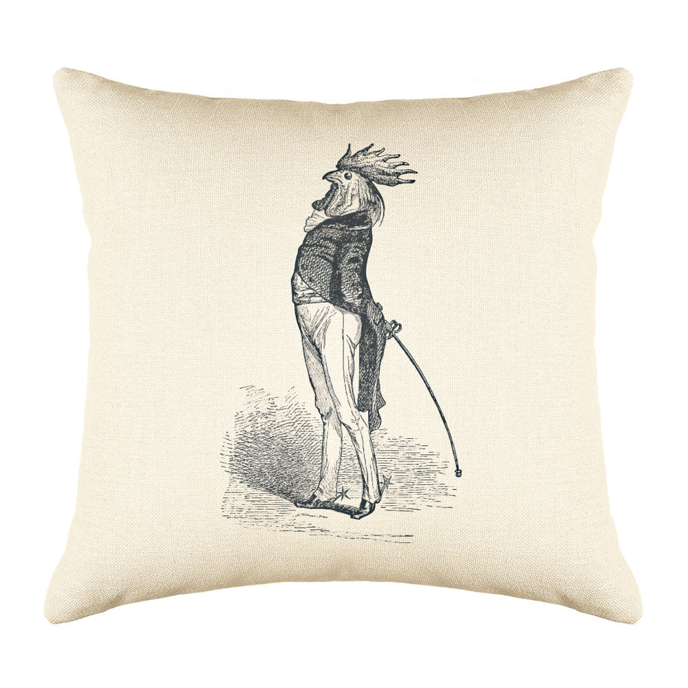 The Proud Cock Throw Pillow Cover - Animal Illustrations Throw Pillow Cover Collection-Di Lewis