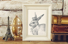 The Royal Rabbit Art Print - Animal Illustrations Wall Art Collection-Di Lewis