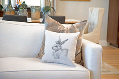 The Royal Rabbit Throw Pillow Cover - Animal Illustrations Throw Pillow Cover Collection