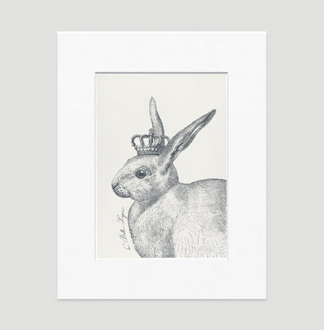 The Royal Rabbit Art Print - Animal Illustrations Wall Art Collection-Matted-Di Lewis