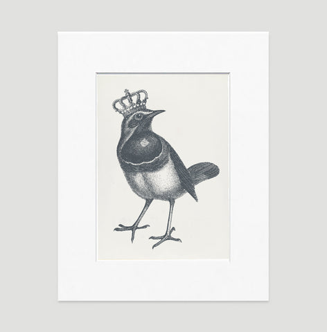 The Royal Robin Art Print - Animal Illustrations Wall Art Collection-Matted-Di Lewis