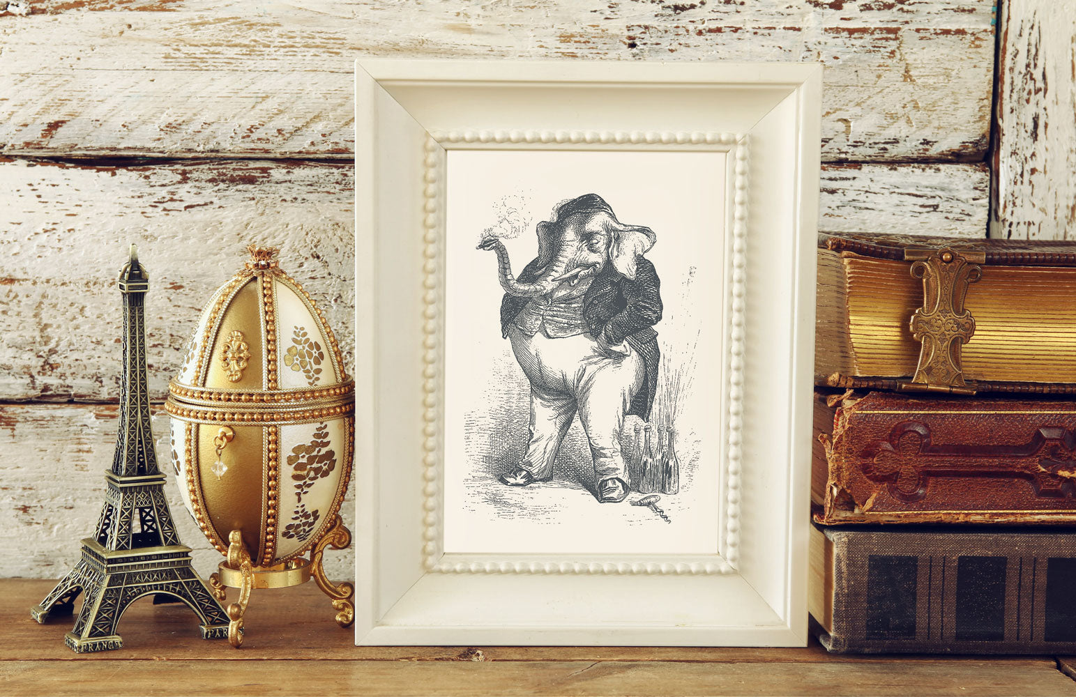 The Smoking Elephant Art Print - Vintage Illustrations Wall Art Collection