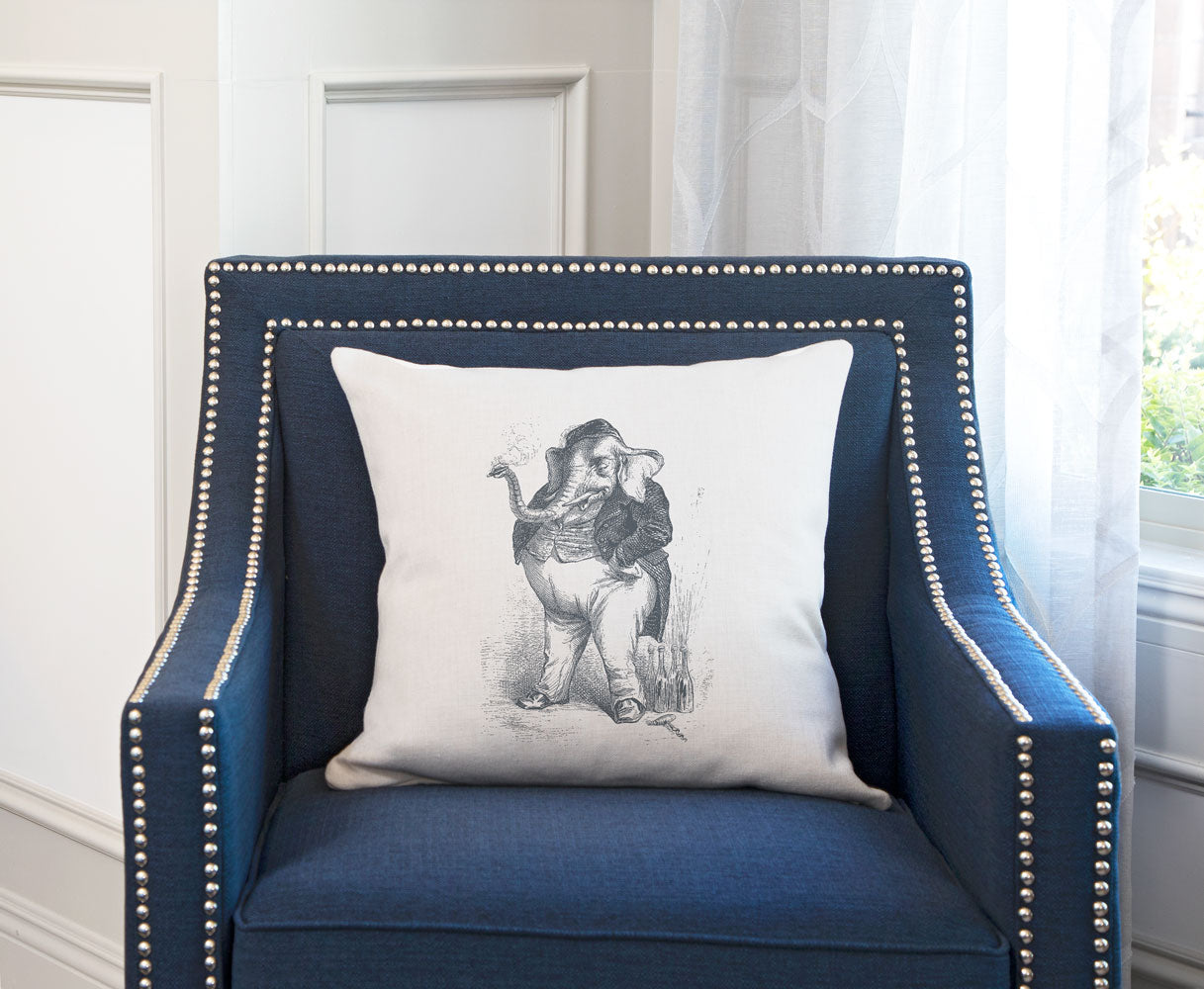 The Smoking Elephant Throw Pillow Cover