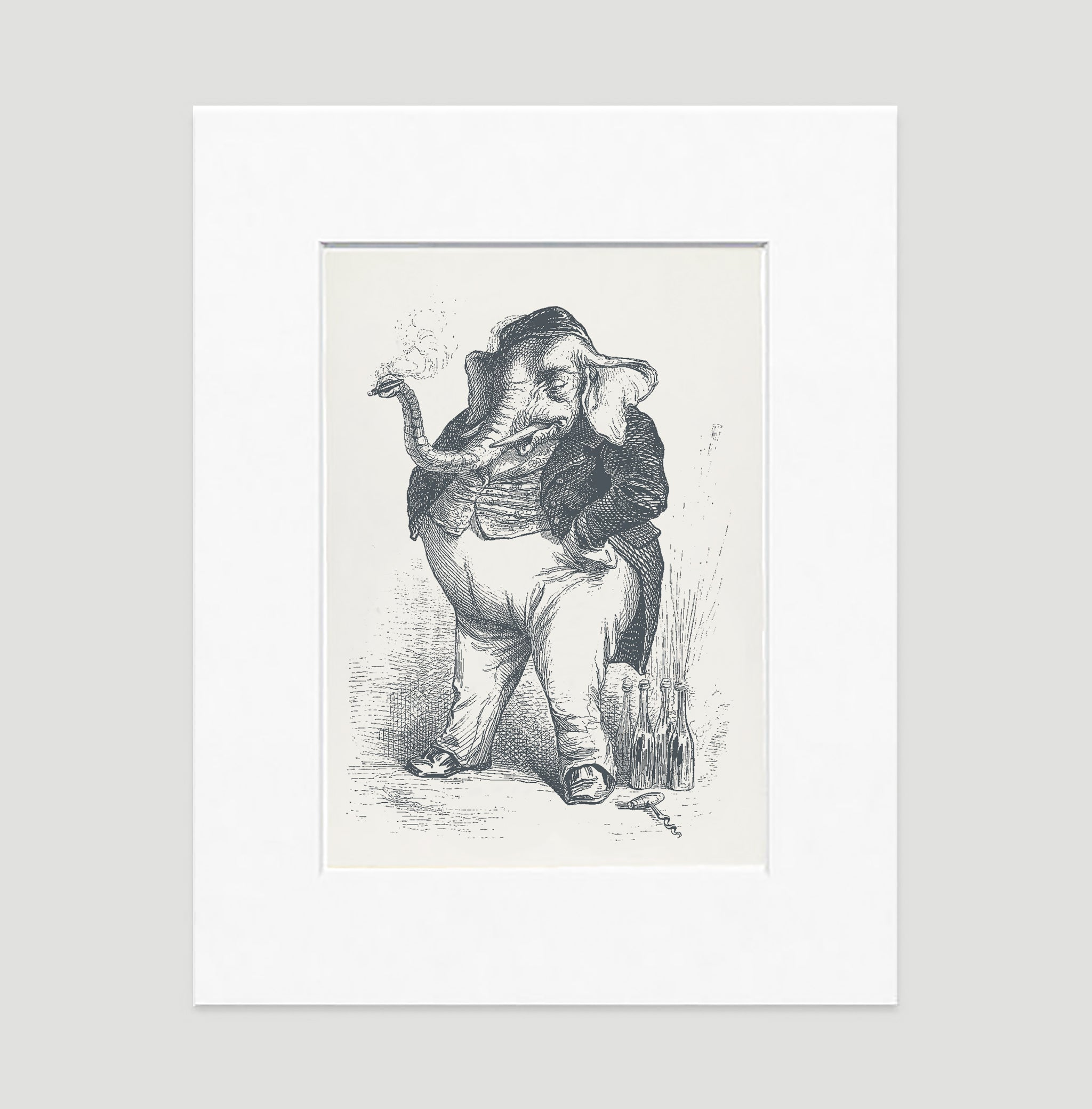 The Smoking Elephant Art Print - Animal Illustrations Wall Art Collection-Di Lewis
