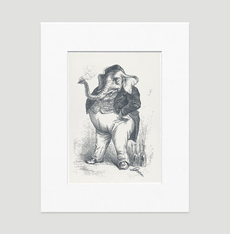 The Smoking Elephant Art Print - Animal Illustrations Wall Art Collection-Matted-Di Lewis