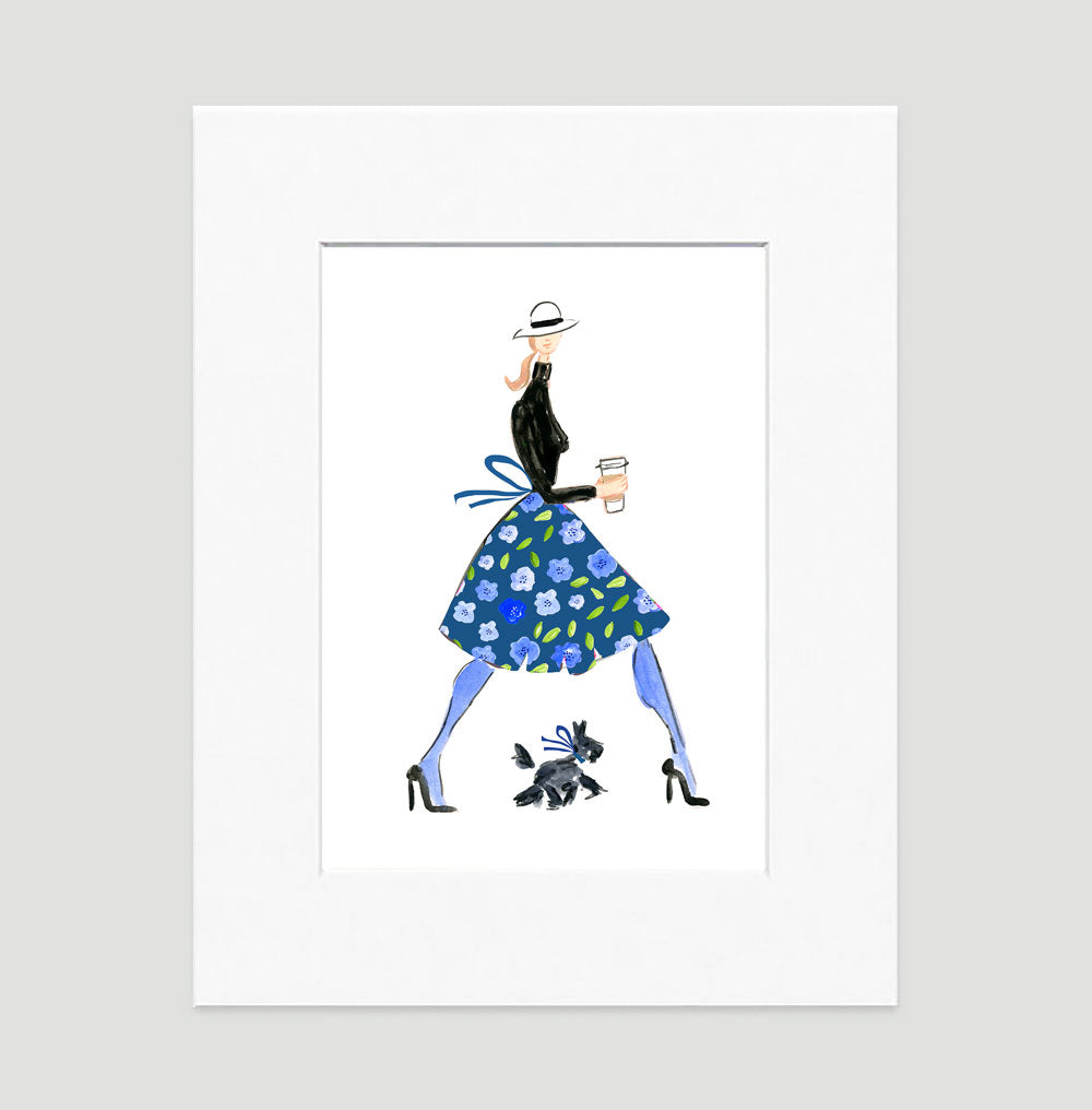 Time For A Latte Art Print - Fashion Illustration Wall Art Collection-Di Lewis