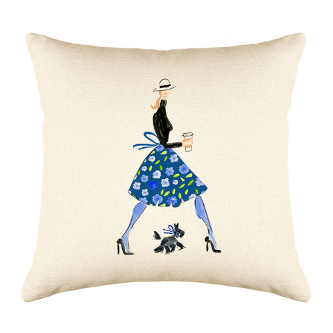 Time For A Latte Throw Pillow Cover - Fashion Illustrations Throw Pillow Cover Collection-Di Lewis