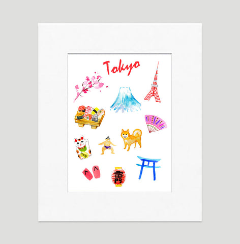 Tokyo Art Print - Travel Print Wall Art Collection-Matted-Di Lewis