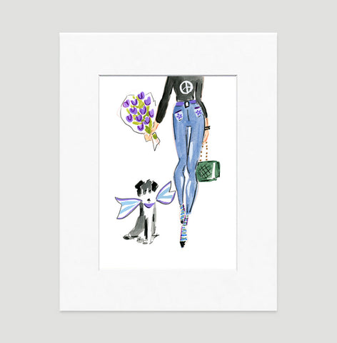 Trendy Lady Art Print - Fashion Illustration Wall Art Collection-Matted-Di Lewis