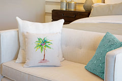 Tropical Palm Tree Throw Pillow Cover - Coastal Designs Throw Pillow Cover Collection