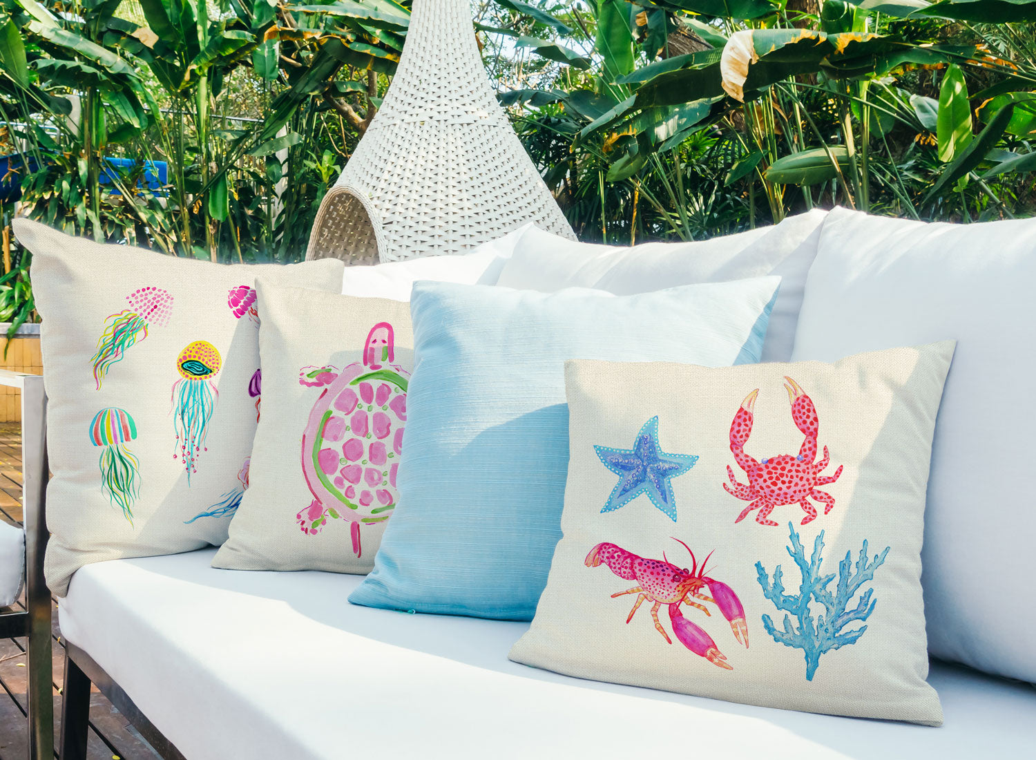 Tropical Reef Throw Pillow Cover - Coastal Designs Throw Pillow Cover Collection-Di Lewis
