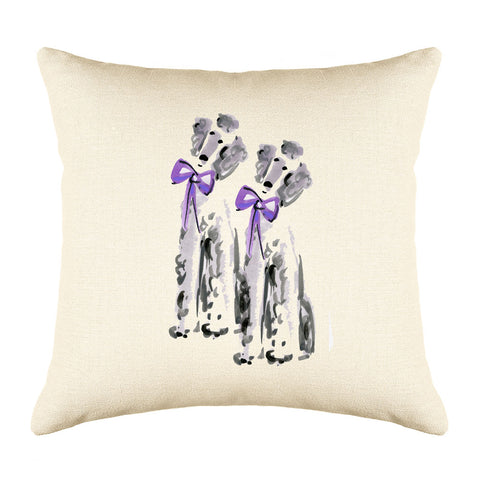 Brigitte & Pierre Poodle Throw Pillow Cover - Dog Illustration Throw Pillow Cover Collection