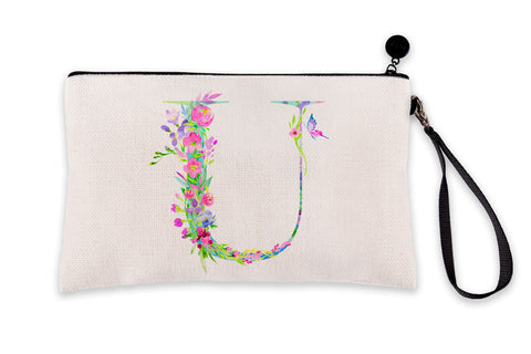 Floral Watercolor Monogram Letter U Makeup Bag