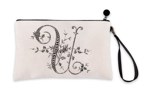 Vintage French Monogram Letter U Makeup Bag