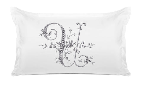 Vintage French Monogram Letter U Pillowcase