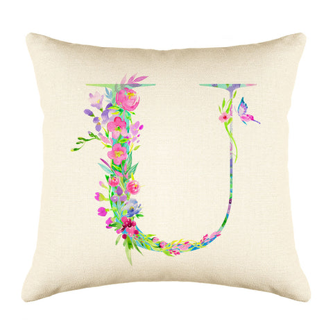 Floral Watercolor Monogram Letter U Throw Pillow Cover