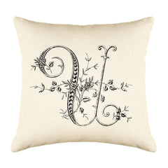 Vintage French Monogram Letter U Throw Pillow Cover