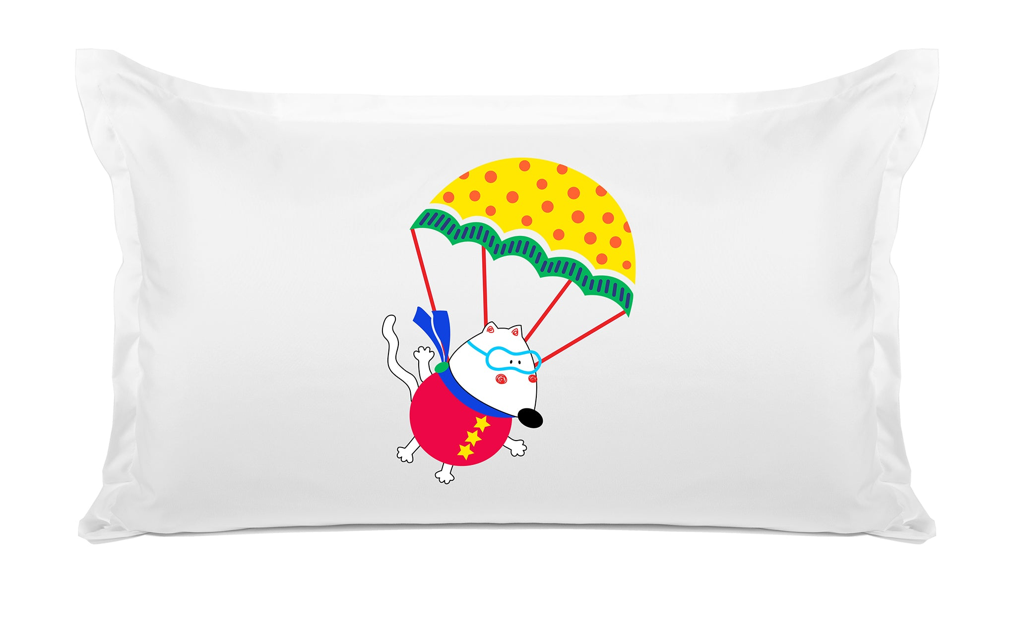 Colorful Parachute Mouse - Personalized Kids Pillowcase Collection