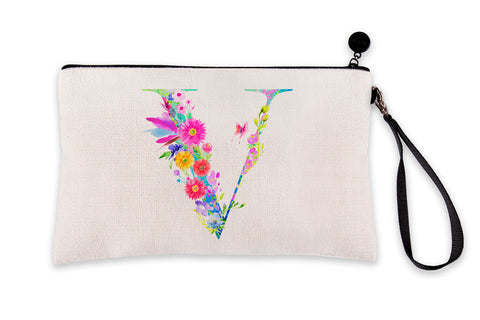 Floral Watercolor Monogram Letter V Makeup Bag