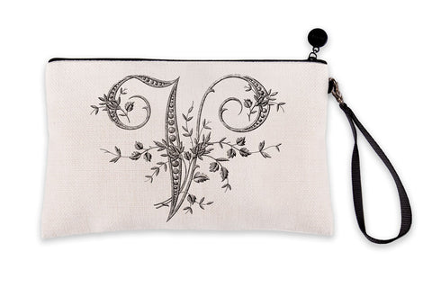 Vintage French Monogram Letter V Makeup Bag