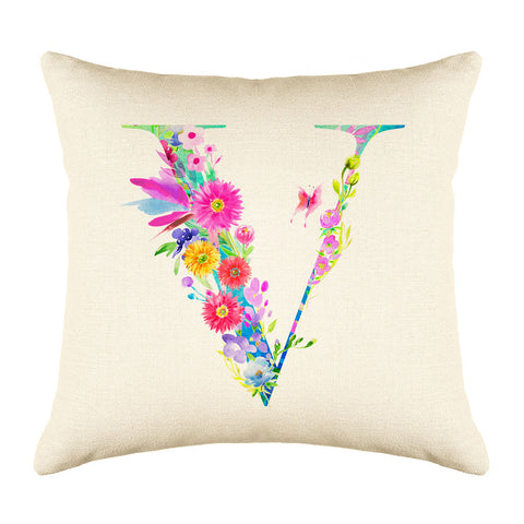Floral Watercolor Monogram Letter V Throw Pillow Cover