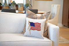 Vintage American Flag 48 Stars Throw Pillow Cover - Decorative Designs Throw Pillow Cover Collection