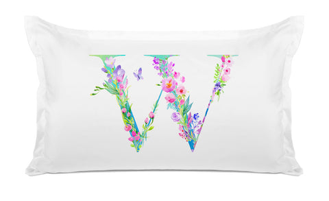 Floral Watercolor Monogram Letter W Pillowcase